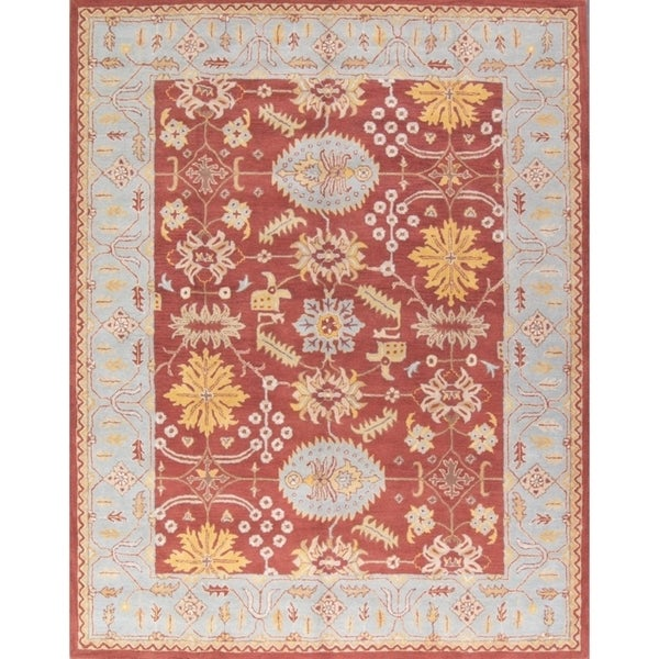Shop Oushak Floral Tufted Wool Persian Oriental Area Rug: Shop Rust Hand-Tufted Woolen Oushak Indian Oriental Floral