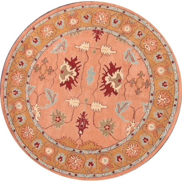 """Copper Grove Lambousa All-over Floral Oushak Agra Hand Tufted Oriental Area Rug - 8'2"""" round"""