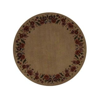 "Copper Grove Pyla Floral Oushak Handmade Woolen Oriental Carpet Area Rug - 5'9"" round"