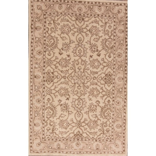 """Copper Grove Smorumnedre Hand-tufted Wool Classical Floral Area Rug Eastern Beige - 8'2"""" x 5'2"""""""