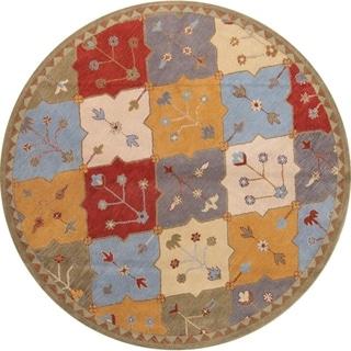 "Gracewood Hollow Muaddi Tufted Blend Indian Woolen Indian Oriental Rug - 8'2"" round"