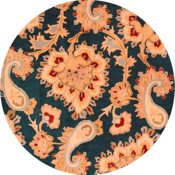 """Strick & Bolton Margison Paisley Hand-tufted Wool Area Rug - 8'3"""" round"""