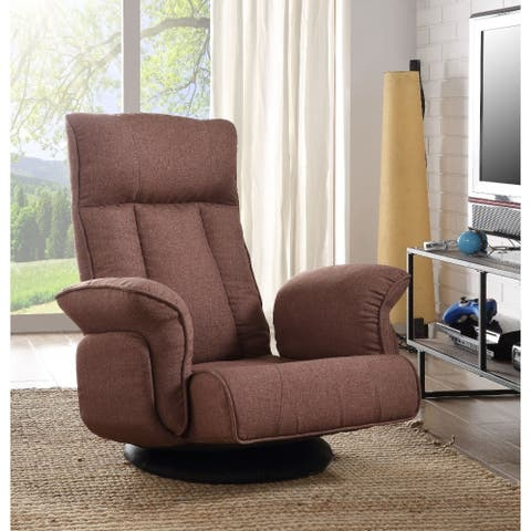 Fabric Upholstered Metal Swivel Game Chair with High Back, Brown