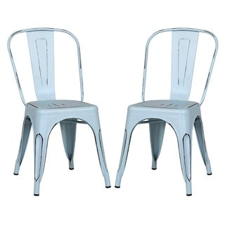 EdgeMod Trattoria Side Chair in Distressed Blue (Set of 2)