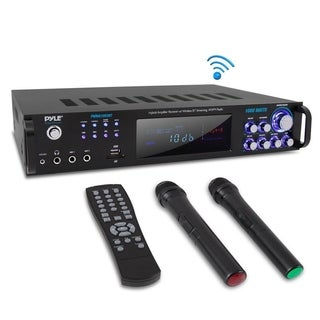 Pyle Bluetooth Home Amplifier Receiver & Microphone System Hybrid Pre-Amplifier w/ (2) Wireless Microphones, USB