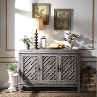 Distressed Wooden Server with Three Door Cabinets, Gray