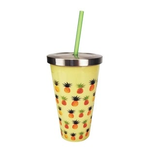 Spoontiques 16 Oz Decorative Stainless Steel Acrylic Pineapple Cup with Straw