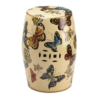 Accent Plus Crafted Glazed Ceramic Butterflies In Flight Barrel Shaped Decorative Stool