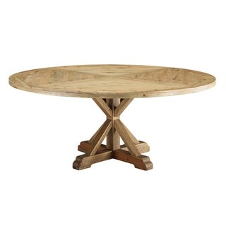 """Column 71"""" Round Pine Wood Dining Table - Brown"""