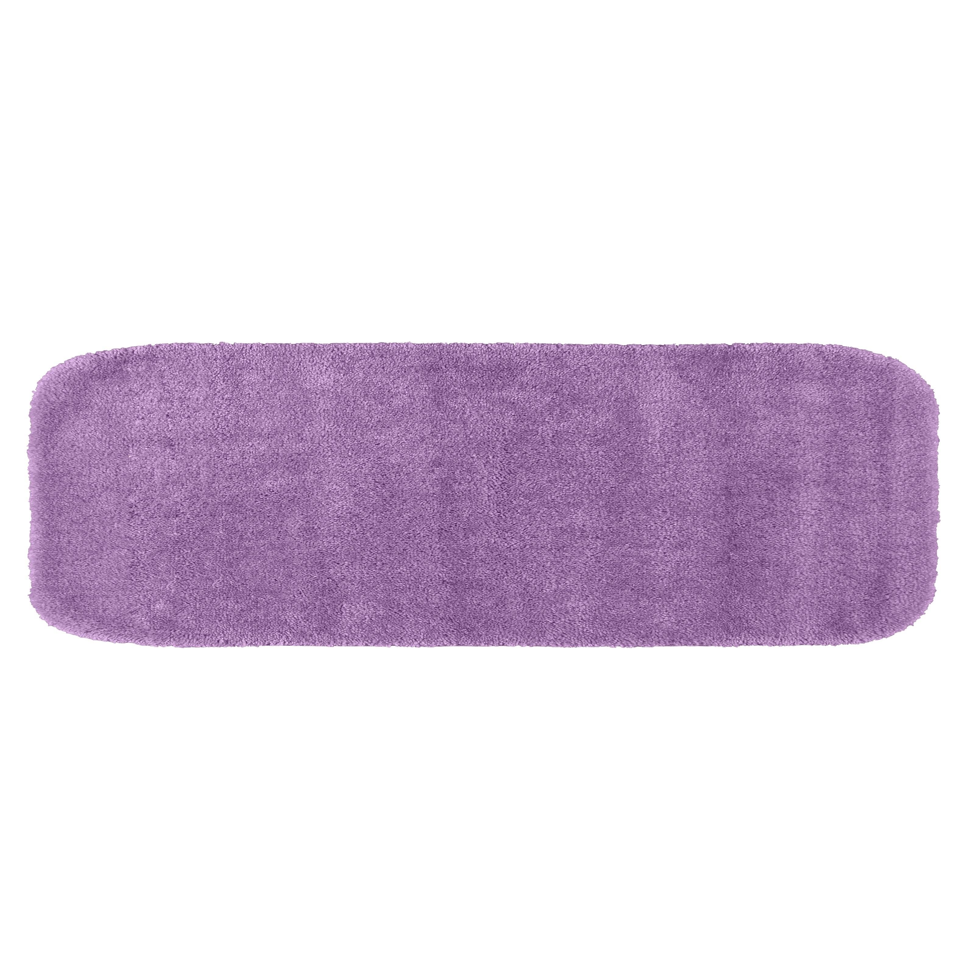 Traditional Purple Plush Washable Nylon Bathroom Rug