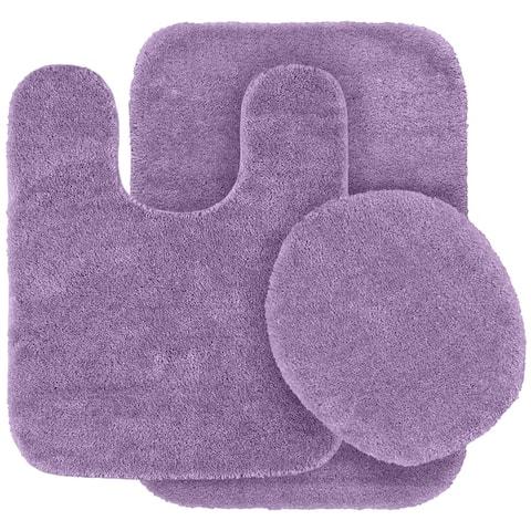 Traditional Purple Plush Washable Nylon Bathroom Rug Runner