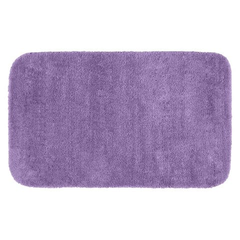 Traditional Purple Plush Washable Nylon Bathroom Rug Runner