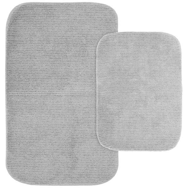 Shop Glamour Platinum Grey Nylon Washable Bathroom Rug Set - On Sale - Free Shipping Today - Overstock - 25719759