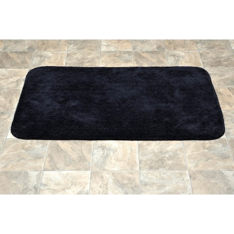 Traditional Black Plush Washable Nylon Bathroom Rug Runner
