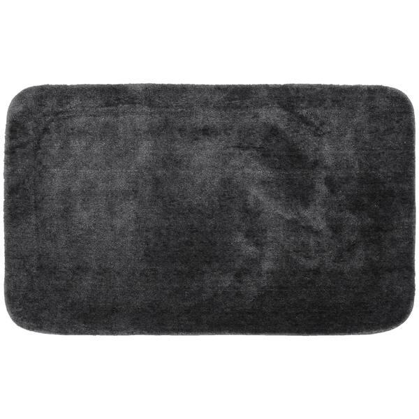 Dark Grey Washable Nylon Bathroom Rug