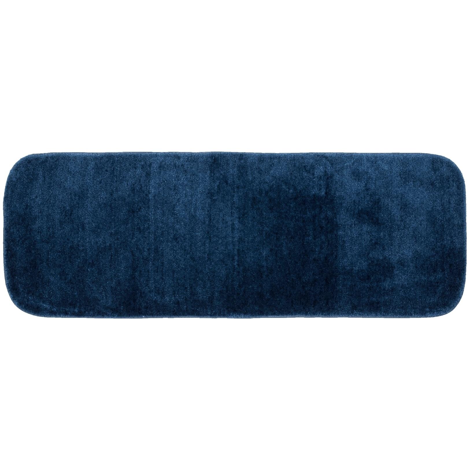 Traditional Plush Basin Blue Washable Nylon Bathroom Rug Runner