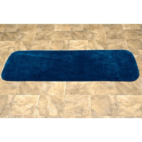 Traditional Plush Navy Washable Nylon Bathroom Rug Runner