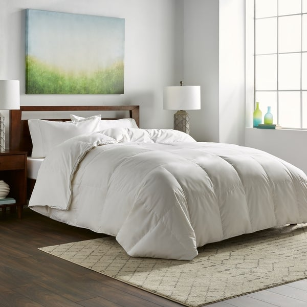 shop nikki chu white goose down comforter king size as is item free shipping today. Black Bedroom Furniture Sets. Home Design Ideas