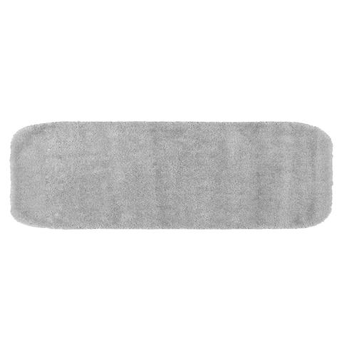 Traditional Plush Platinum Grey Washable Nylon Bathroom Rug Runner