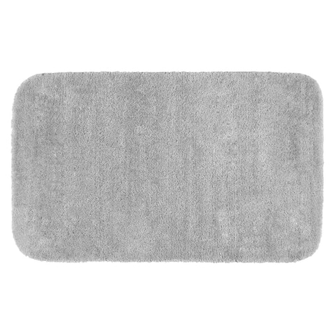 Traditional Plush Platinum Grey Washable Nylon Bathroom Rug Runner