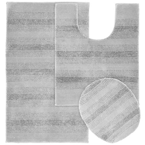 Essence Platinum Grey Nylon Washable Bathroom Rug Runner