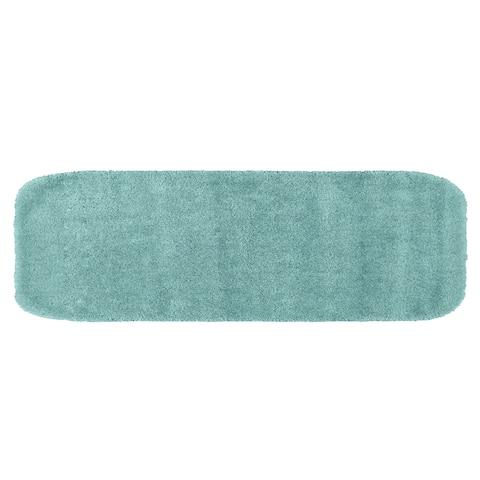 Traditional Plush Sea Foam Washable Nylon Bathroom Rug Runner