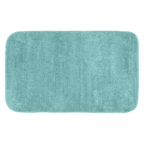Traditional Plush Sea Foam Washable Nylon Bathroom Rug Runner