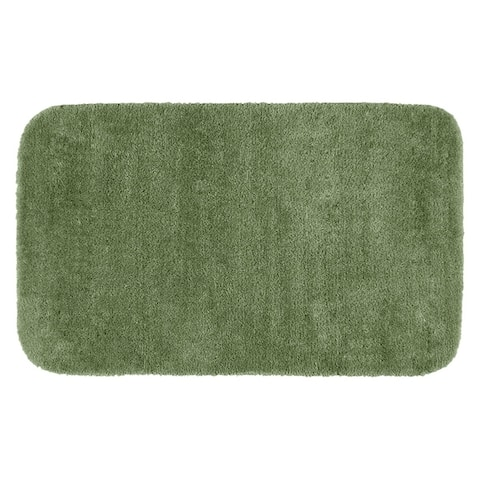 Traditional Plush Deep Fern Washable Nylon Bathroom Rug Runner