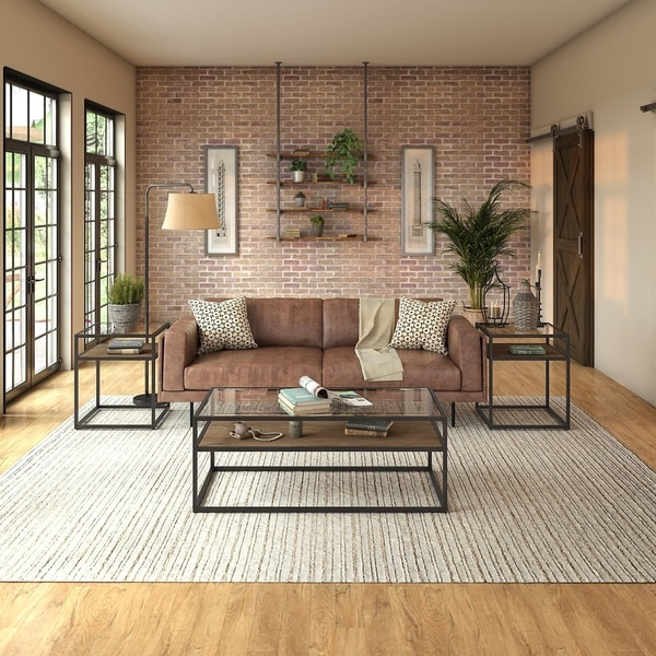 Carbon Loft Narthech 3-piece Coffee Table and End Table Set in Rustic Brown