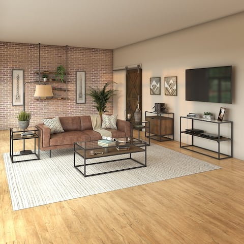 Carbon Loft Narthech Coffee Table 5-piece Office Suite in Rustic Brown