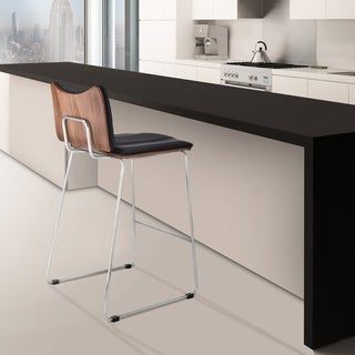 "Monica Modern 26"" Counter Height Bar Stool in Brushed Stainless Steel with Gray Faux Leather and Walnut Back"