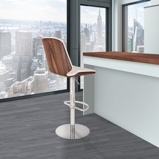 Rachel Contemporary Adjustable Barstool in Polished Steel with White Faux Leather and Walnut Back