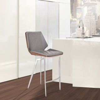 "Margaret Modern 26"" Counter Height Bar Stool in Brushed Stainless Steel with Vintage Gray Faux Leather and Walnut Back"