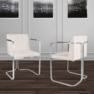 Erin Contemporary Dining Chair in Brushed Stainless Steel with White Faux Leather and Walnut Arms - Set of 2