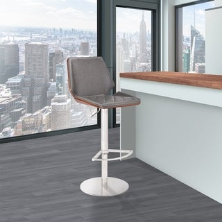 Gina Modern Adjustable Barstool in Brushed Stainless Steel with Vintage Gray Faux Leather and Walnut Back