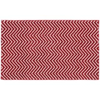 Palazzo II Crimson/White Washable Bath Rug - 21 x 34