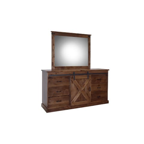 Farmhouse Collection Aged Whiskey Dresser Mirror - aged whiskey