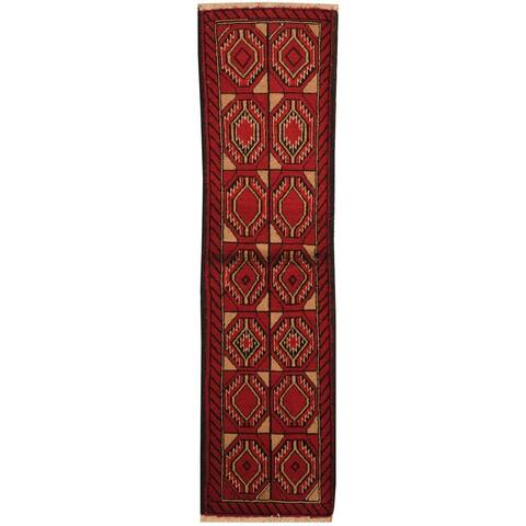 Handmade Herat Oriental Persian Hand-knotted Tribal Balouchi Wool Rug (1'8 x 6'2) - 1'8 x 6'2