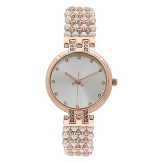 Covet Women's 'Lacey' Pearl and Crystal Rose Tone Bracelet Quartz Watch