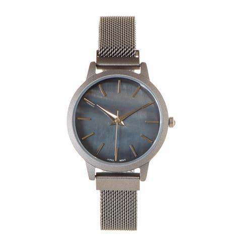 Covet Women's 'Amelia' Grey Magnetic Mesh Strap Quartz Watch