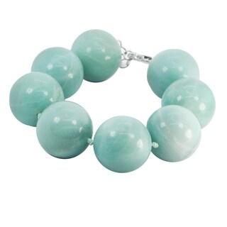 Michael Valitutti Palladium Silver Round Amazonite Bead Bracelet