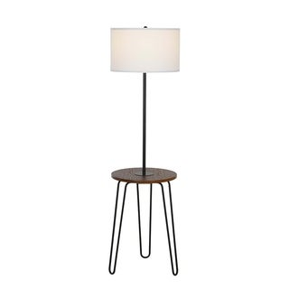 "Catalina Lighting Mid-Century Modern Furniture Floor Lamp w/USB,59"" Black 21284-001"