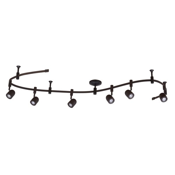 "Catalina Lighting Transitional 6-Light LED Flex Track, 96"" Oil Bronzed 21288-000. Opens flyout."