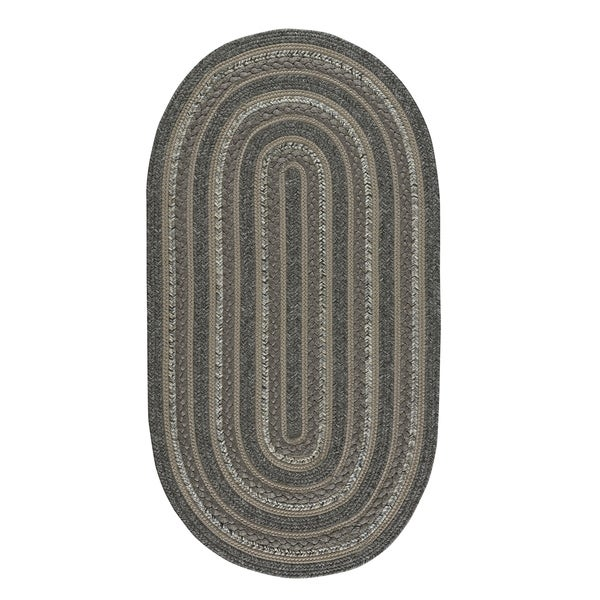 "Capel Rugs Braided Platform Onyx Area Rug - 27"" x 9' oval"