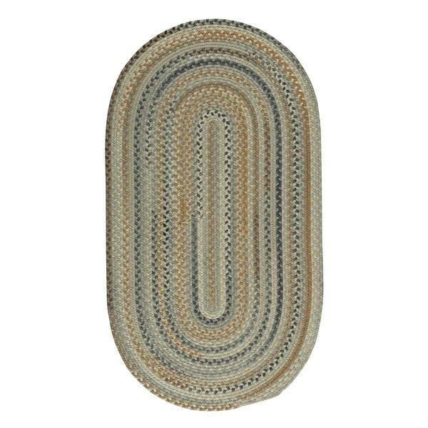 Capel Rugs Braided Melange Beige Wool Area Rug - 7' x 9' oval