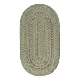 "Capel Rugs Braided Melange Green Wool Area Rug - 27"" x 48"" oval"