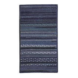 "Capel Rugs Harborview Dark Blue Braided Cross Sewn Rectangle Area Rug - 7' 6"" x 7' 6"""