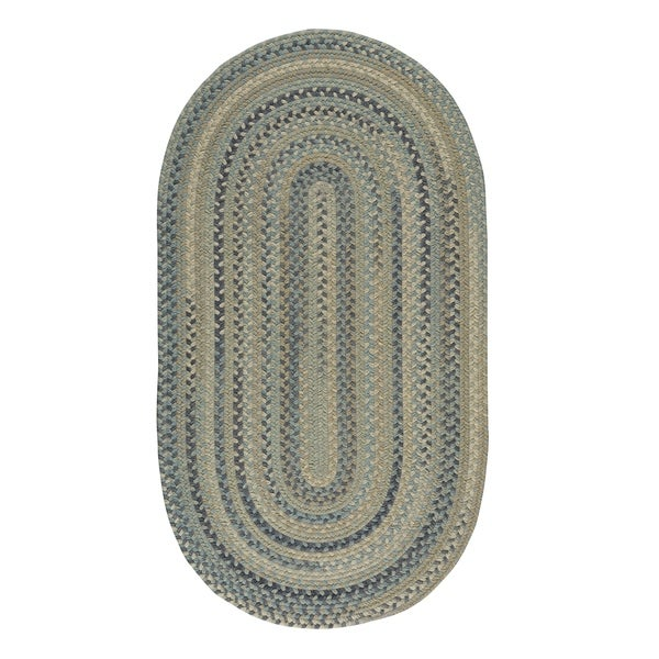 "Capel Rugs Braided Melange Beige Multi Wool Area Rug - 20"" x 30"" oval"