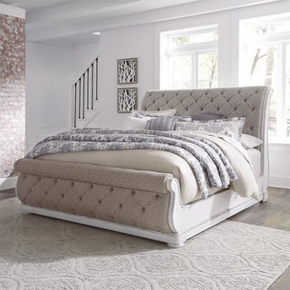 Link to Magnolia Manor Antique White King Upholstered Sleigh Bed Similar Items in Bedroom Furniture