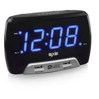 "SXE86046- SXE 1.4"" Blue LED Alarm Clock  with 2 USB Charging Ports"